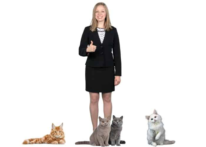 lady with 4 cats thumbs up